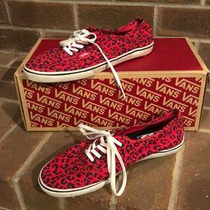 Vans red leopard sneakers size 8 women